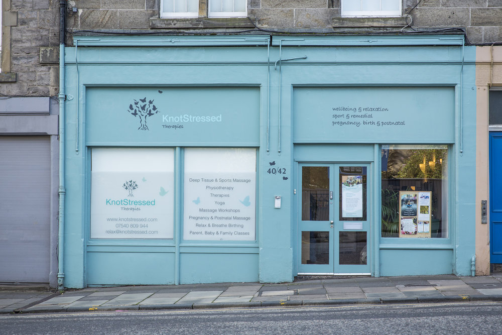 What do we offer? - KnotStressed provides great therapies and workshops in the centre of Edinburgh. Whether you are looking to relax and unwind, want relief from specific aches or pains, or simply need some feel good therapy, we can help. We have four areas we feel especially passionate about:* helping to relieve tension, stress and ongoing chronic issues* supporting women and their families through fertility issues, pregnancy, birth, the postnatal period and the menopause* supporting athletes and amateur sports people to achieve their potential* empowering people to take ownership of their well-beingOur Accredited KnotStressed Training Programme includes:*3-day FEDANT-accredited Pregnancy Massage Training*2-day FEDANT-accredited Postnatal Massage Training*2 x 2-day CThA-accredited Hands Free Massage Training*3-day FEDANT-accredited Relax & Sing Baby Massage & Yoga Instructors Training*3-day FEDANT-accredited Relax & Sing Baby Signing Instructors Training*5-day FEDANT-accredited Relax & Breathe Birthing Instructors TrainingOur Registered Address is KnotStressed Ltd., 40-42 Montrose Terrace, Edinburgh EH7 5DL.Our Company Number is SC405716.