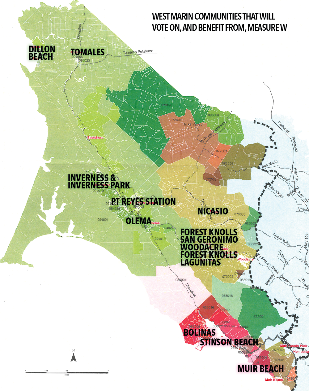 Map of West Marin Communities that will vote on, and benefit from, Measure W