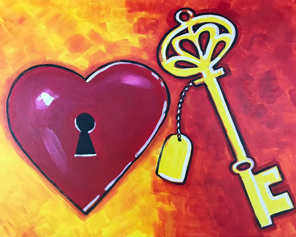 The Key to my Heart Couples Painting (2.5 hours)