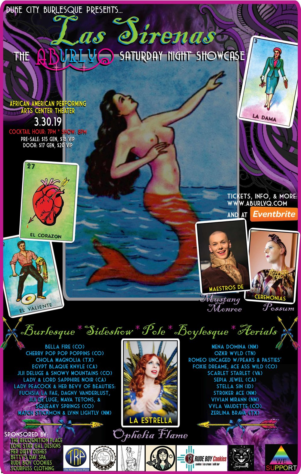 Saturday Night - LAS SIRENAS// Starring: Ophelia Flame //Competition Categories:+ Best Burlesque Soloist+ Best Duet/Group+ Most Classic