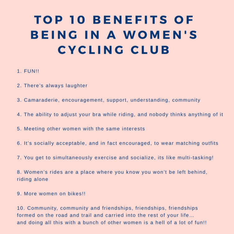So many great reasons to form or join a women's cycling club, courtesy of American Women's Cycling Network.