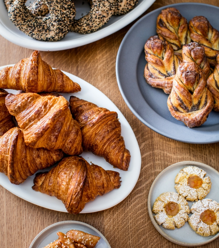 croissants, poppy danish, chickpea and orange shortbread, and a simit bagel tease