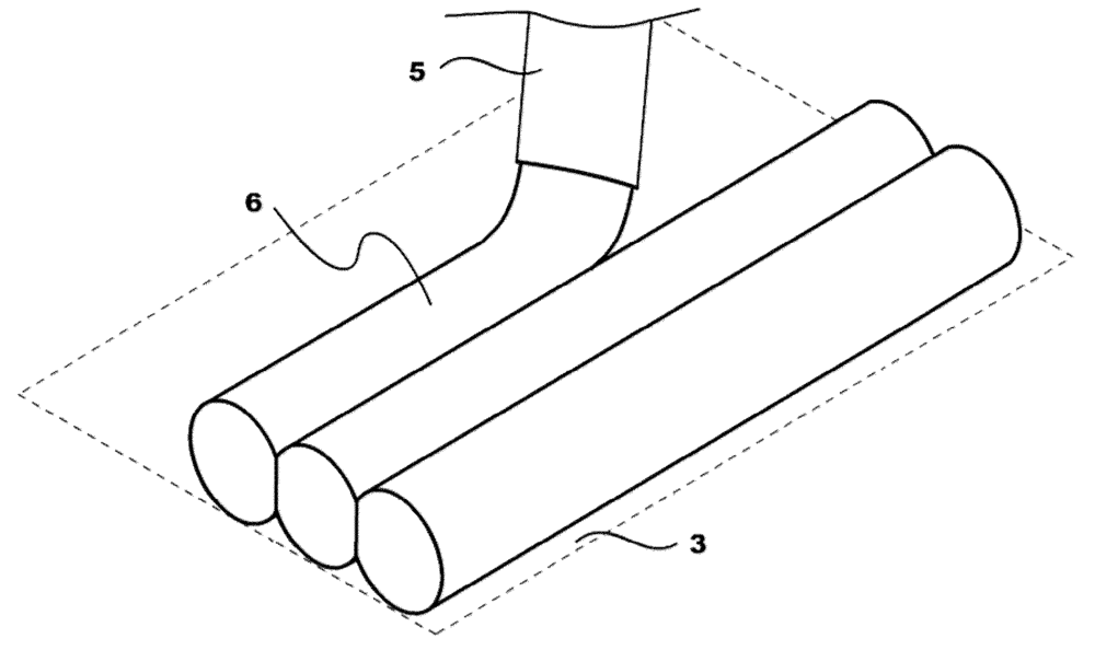 Figure 8 from the patent. Illustration of a cylindrical multicellular aggregate being extruded into a layer.