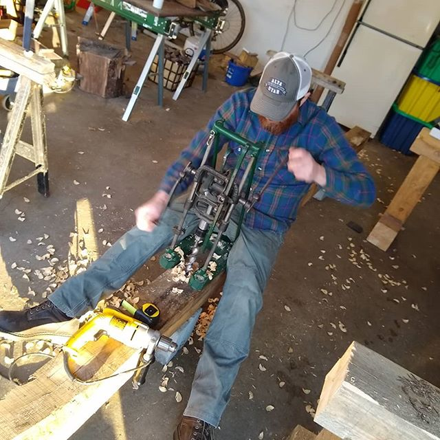 Learning to frame.  Hogging out a mortise with a Miller's Falls beam drill. #andersontimberworks #timberframing #timberframing #beamdrill #millersfallstools