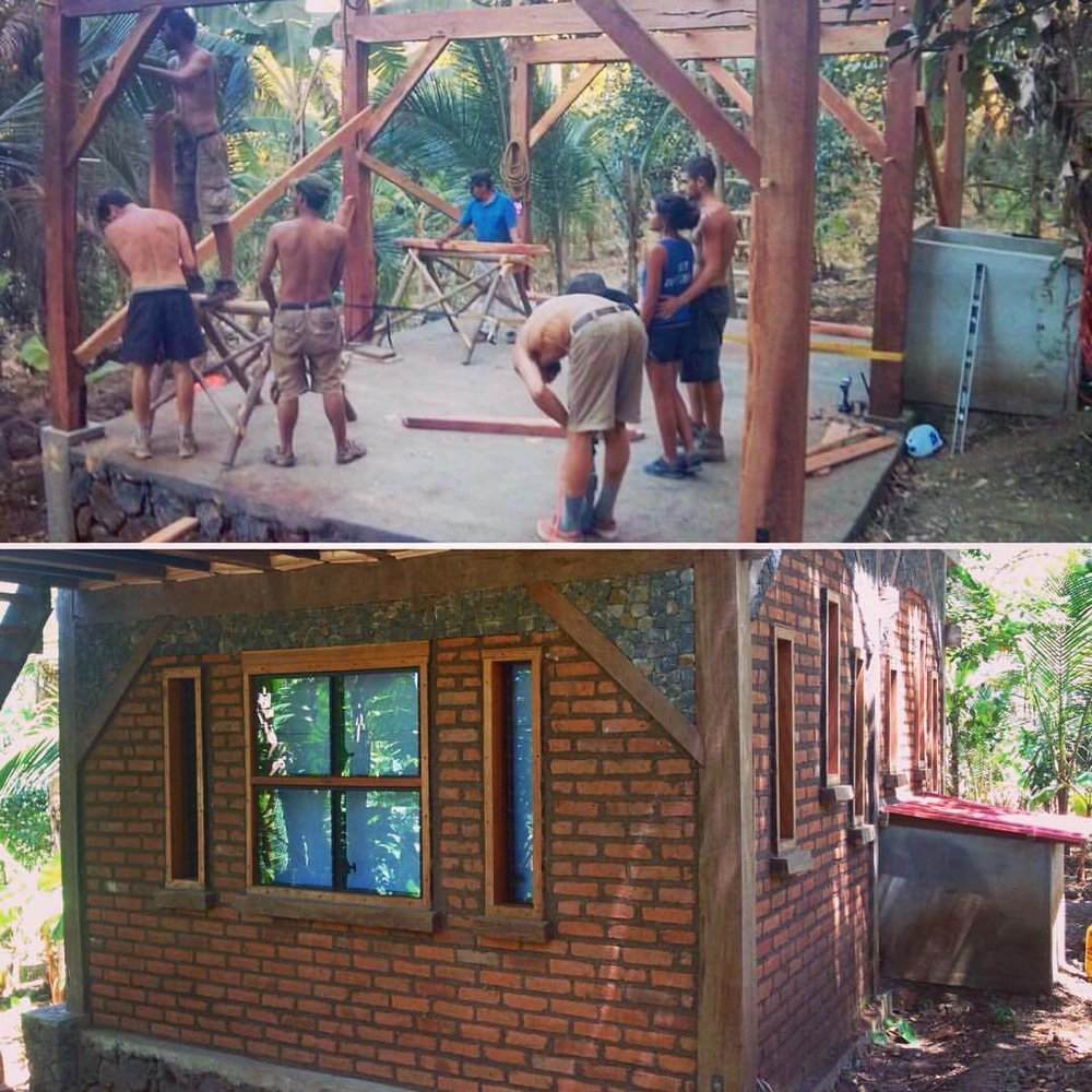 student group timber framing, local brick, cob mortar, volcanic rock, natural building, jungle house Selvista