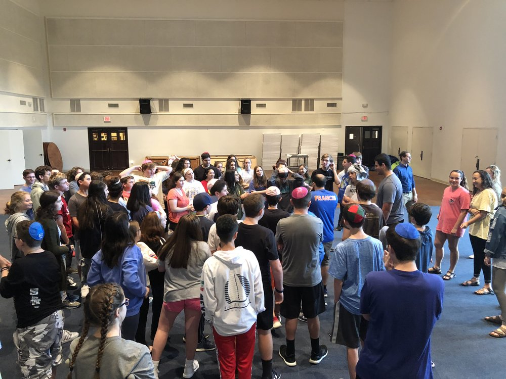 Students gather on the first day to build community and learn about their Jewish history and heritage.