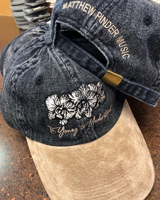 Front and back embroidery for more hats #matthewpindermusic #embroidery #denimsuede #tooyoungtounderstand