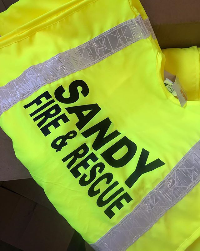 SWIPE -  to see what all goes in to the heat seal process! • • • • • • • • #heattransfer #safetyvest #sandyfire #sandyoregon #heatpress #smallbusiness