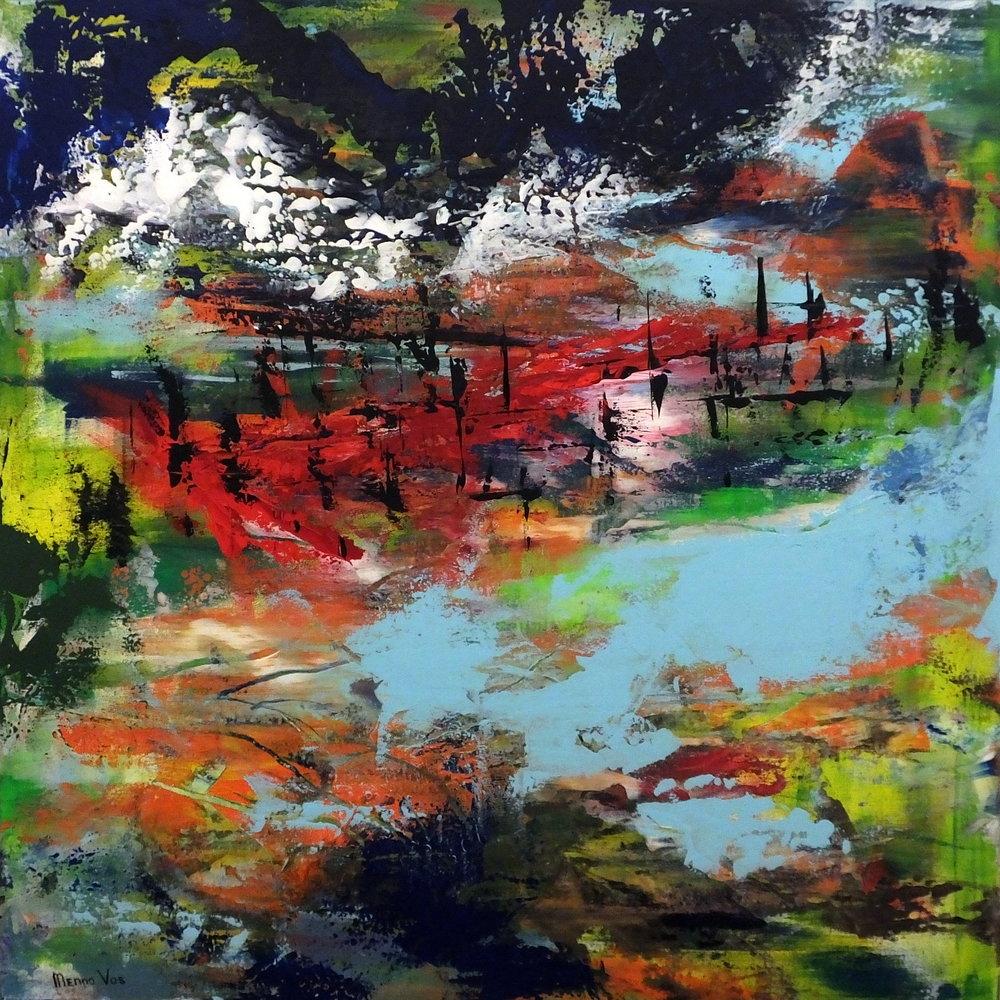 No borders. Acrylic on canvas, 100 x 100 cm (40 x 40 inch). 2016