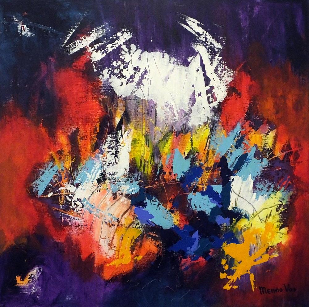 Blue sparks. Acrylic on canvas, 100 x 100 cm (40 x 40 inch). 2018