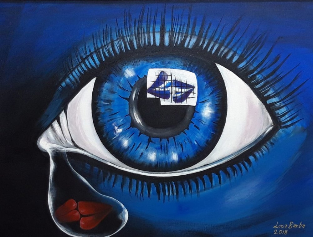 """El triste ojo que también todo lo ve"" 2.018 Acrilyc on canvas, size without frame 85 x 65"