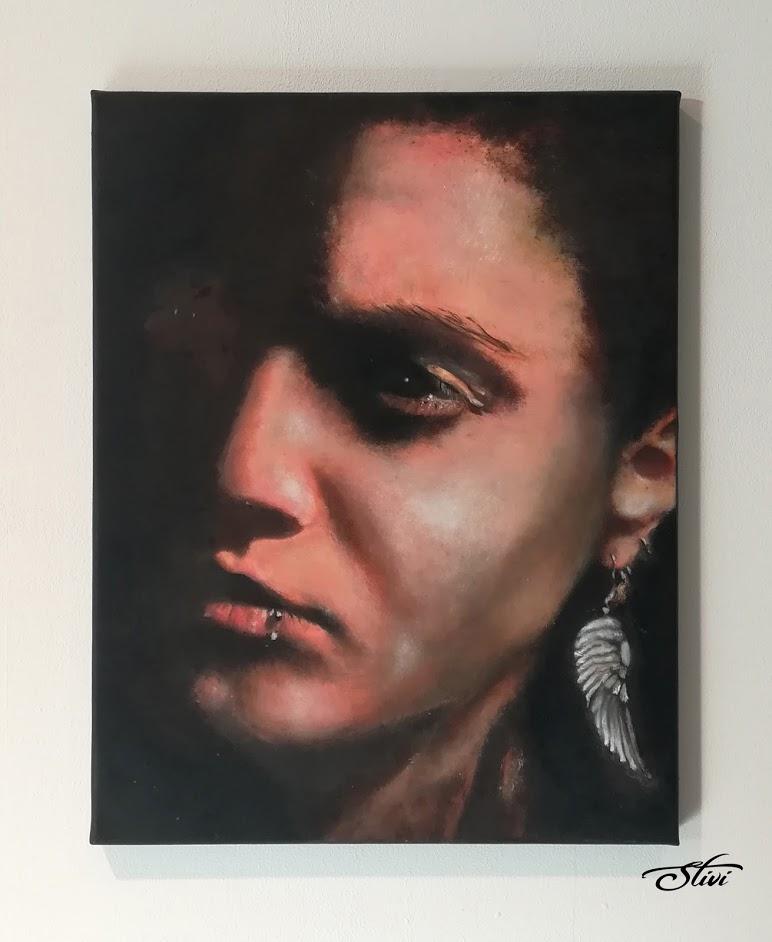 Self-portrait Oil Painting fingers 40x50cm