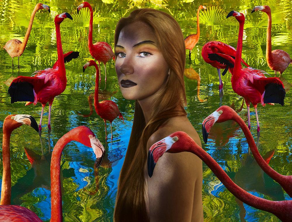 Transcendental Surreal Raph And Flamingos Of Garden