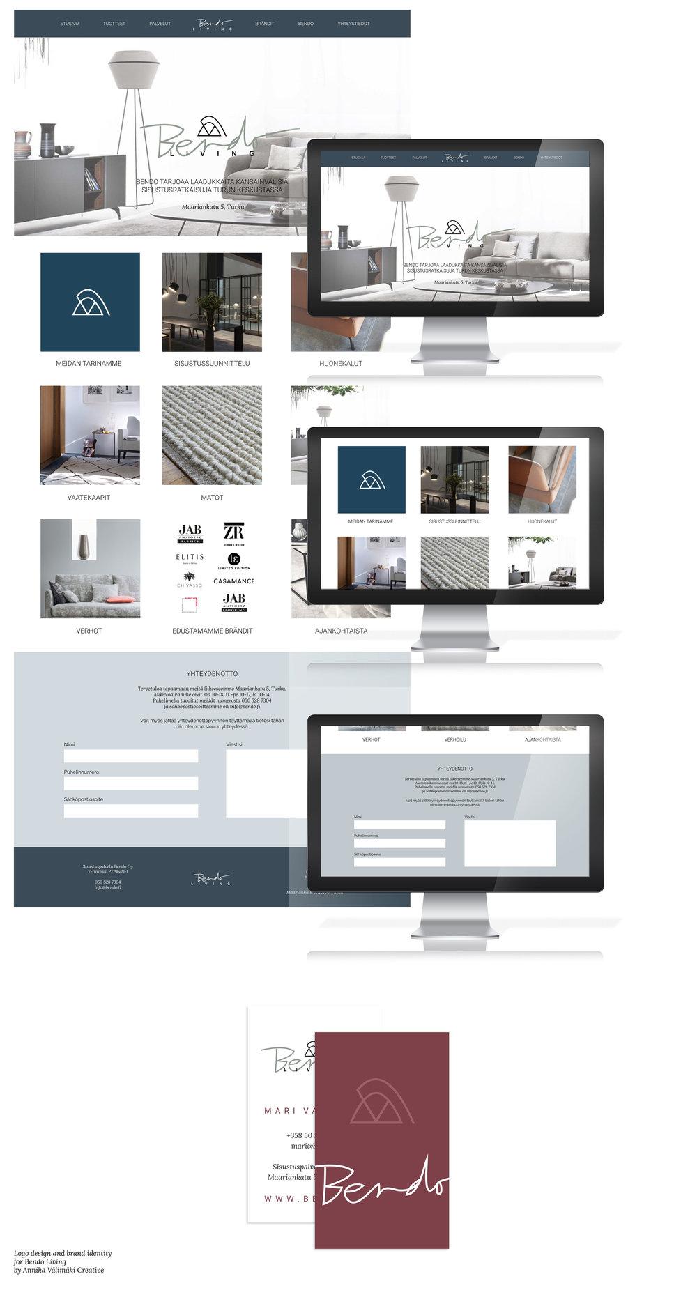 Annika Välimäki Graafinen suunnittelu, logosuunnittelu, yritysilme, käyntikortin suunnittelu, Bendo Living