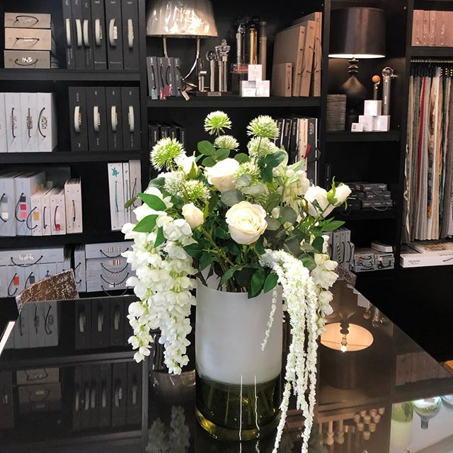 Our beautiful new flowers for the workroom. Thank you Alice. Real/not real? @cherubsflorists