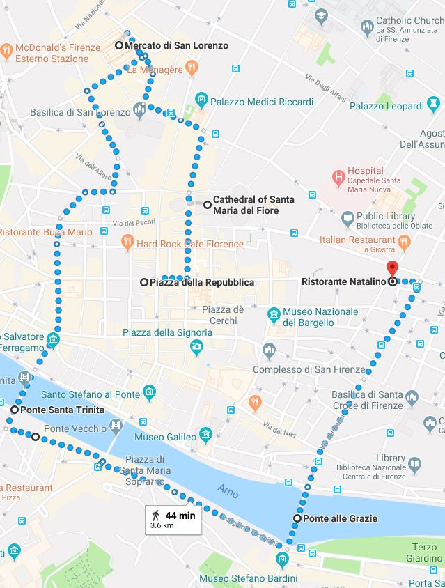 This is the route you'll be taking today. It's a  total  of 3.6 kilometers and 44 minutes, and gives you a nice view of the city.