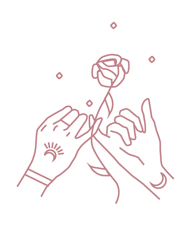 hands holding pinkies with rose between and moon tattoos