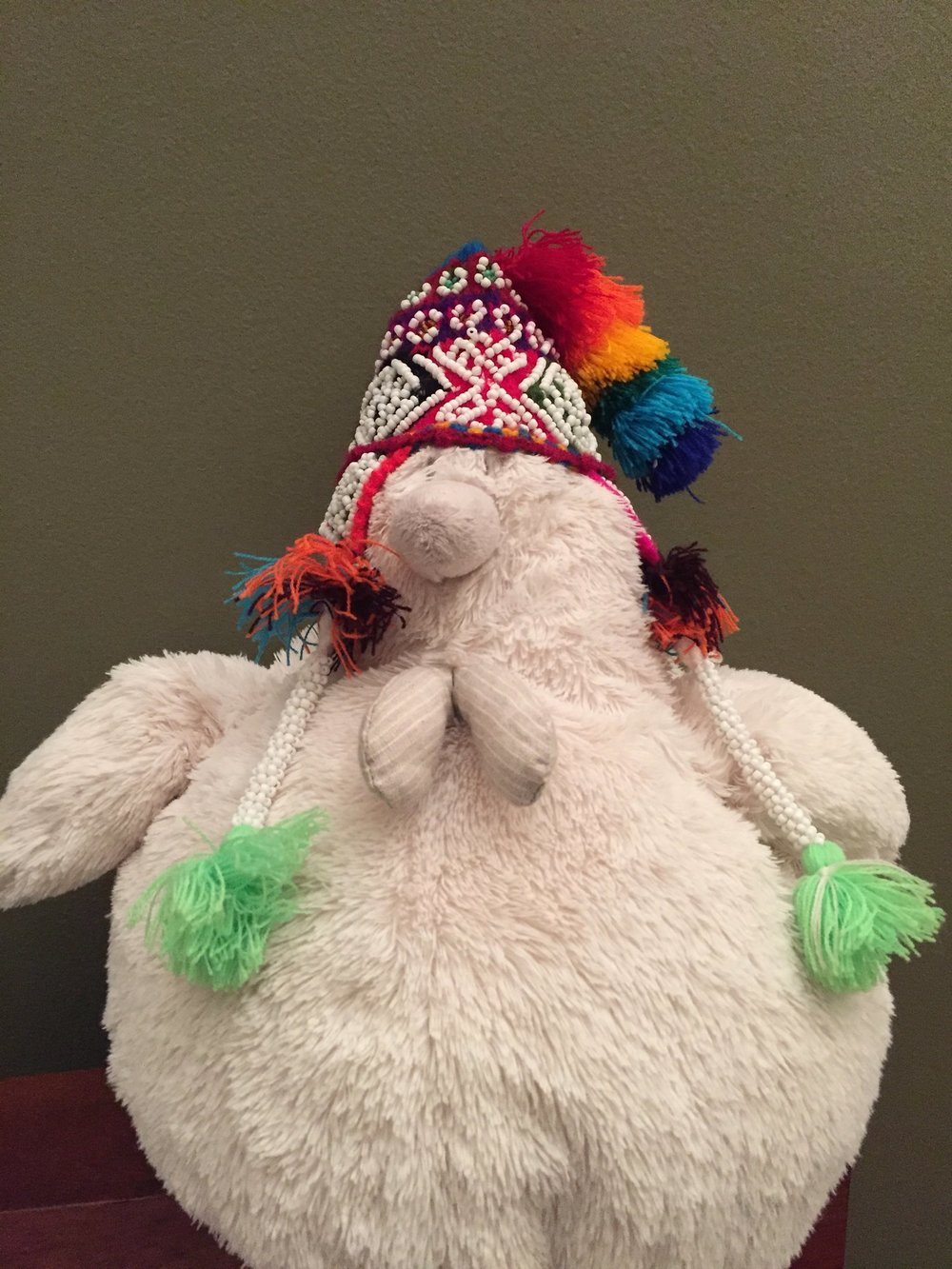 My friend, Chicken, who I brought as a travel companion and the smallest and most expensive hat I've ever purchased.