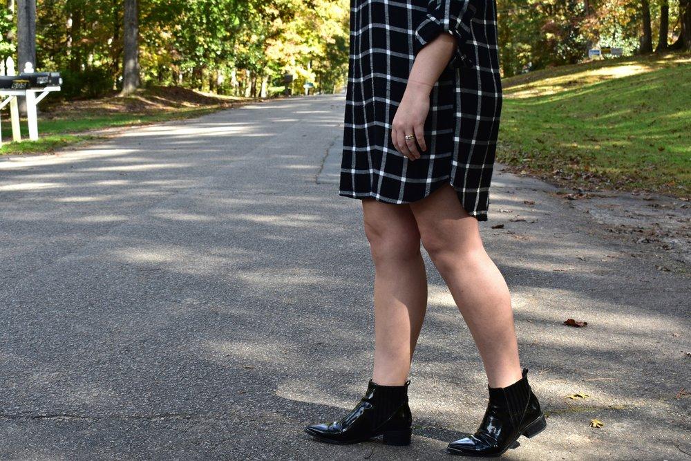 Plaid Dress + Patent Boots