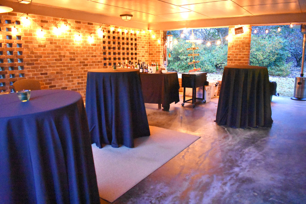 Set tables in advance - Do as much as you can the day before or the morning of the party. Set up seating areas, tables, bar, coolers, etc. Put yourself in a position where the only thing left to do the afternoon of the party is put food on the tables + light candles.