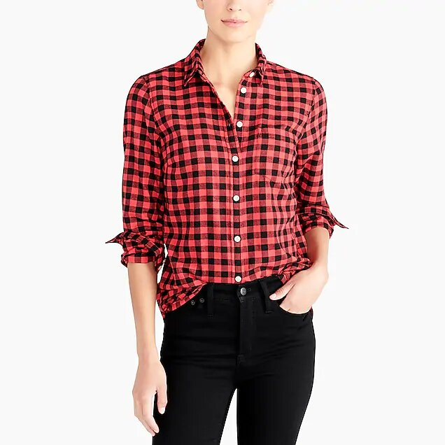 Red + Black Check Button Up