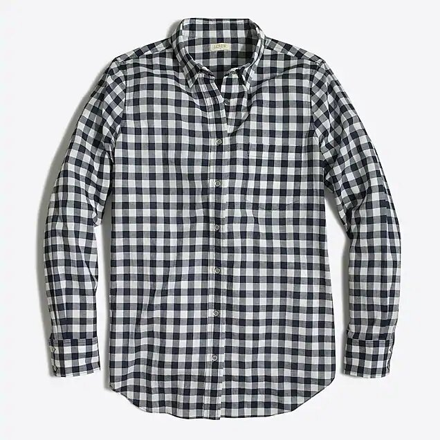 Black + White Check Button Up