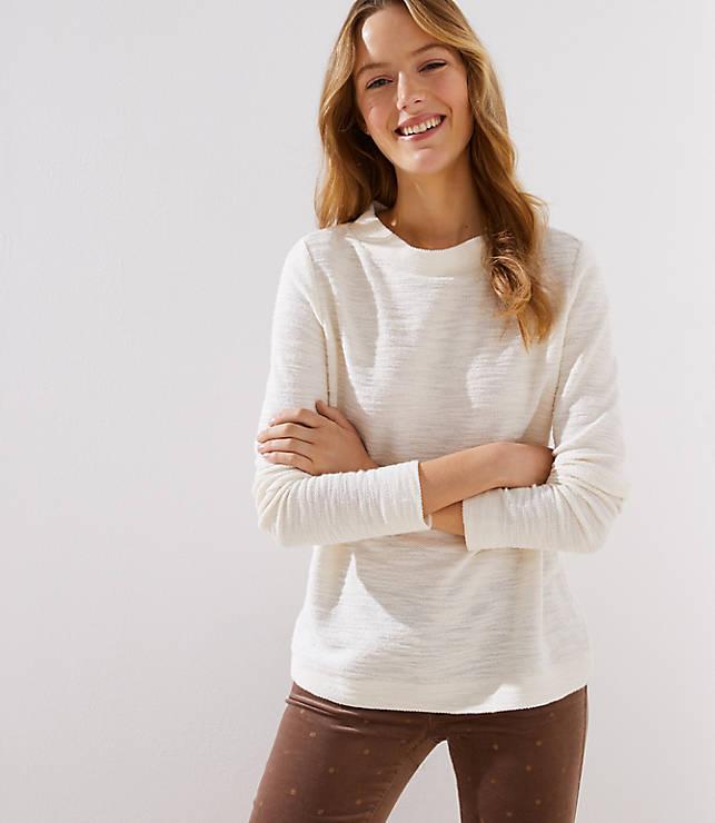 White Boucle Sweatshirt
