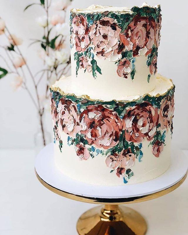 #Repost @wedluxe • • • • • Current mood: this hand-painted cake from @buttercream_bakery 😱🎂 . . via @buttercream_bakery #cake #cakeart #edibleart #masterclass