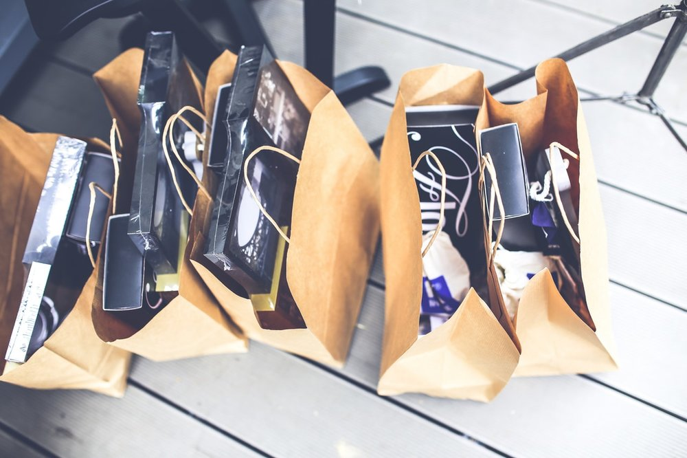Picture of shopping bags on wooden floor
