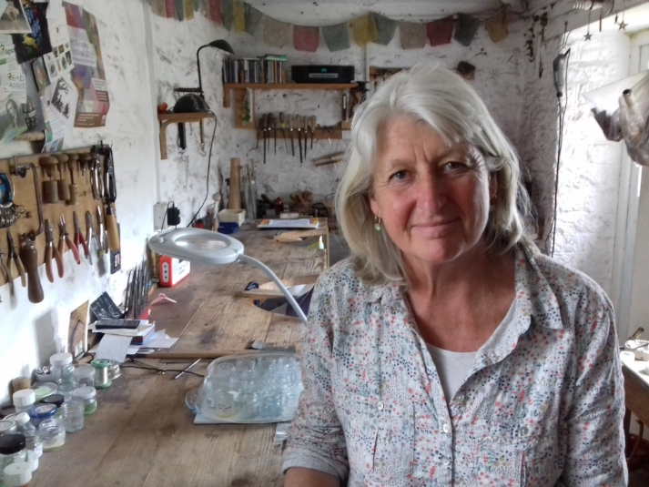 Caroline in her workshop at home in Somerset.