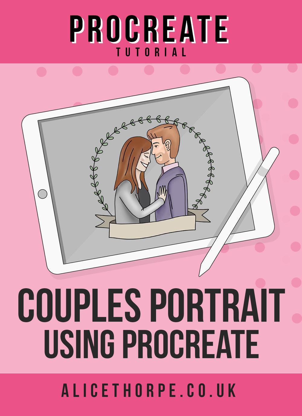 Free Procreate tutorial to create cartoon couples portrait by Alice Thorpe