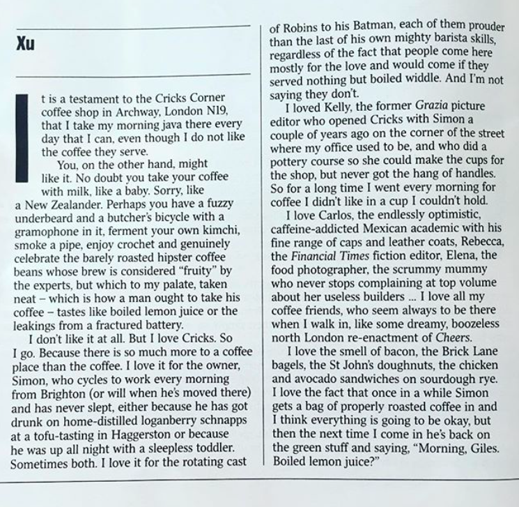 The Times  Magazine, July 8th 2017, Giles Coren