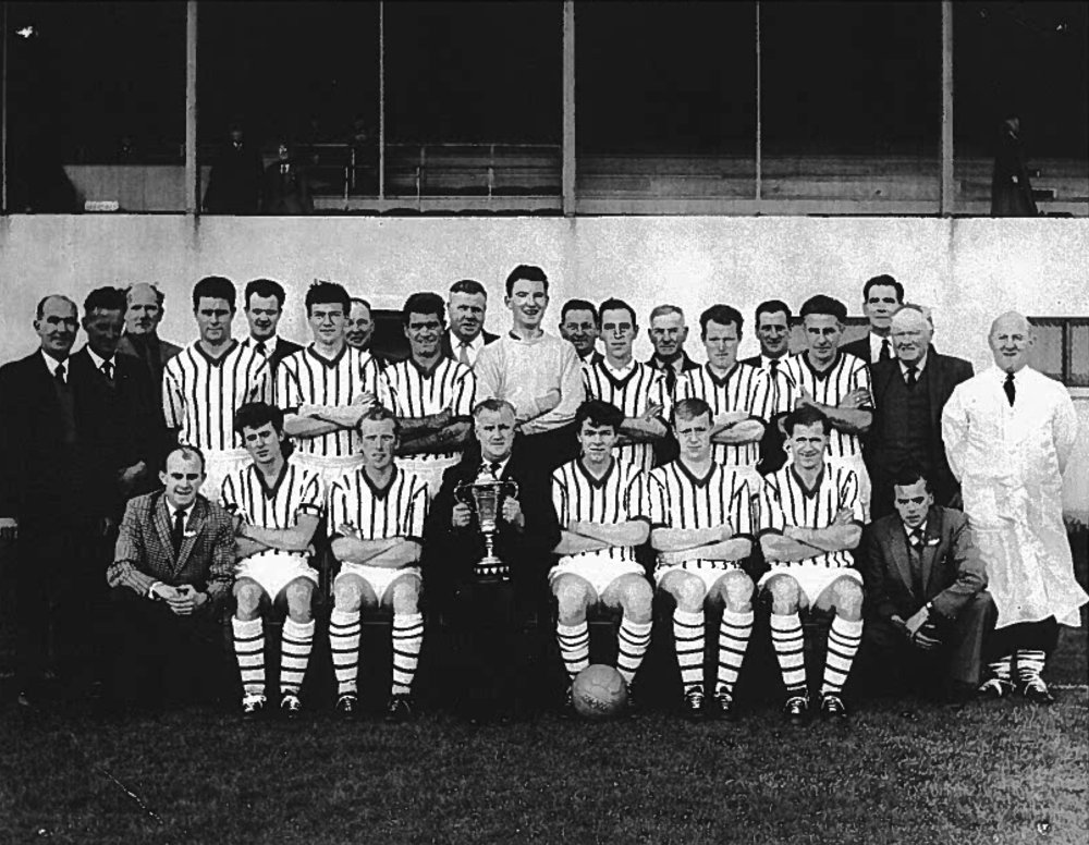 Keith FC Highland League Cup winning team of 1964 - Mike Cogan is sitting in front row, second player from the left, sitting beside Alex Rutherford, Chairman.