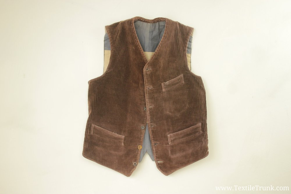 French Work Wear Vest Corduroy