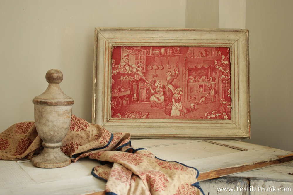 Monochrome Red Antique Toile Framed