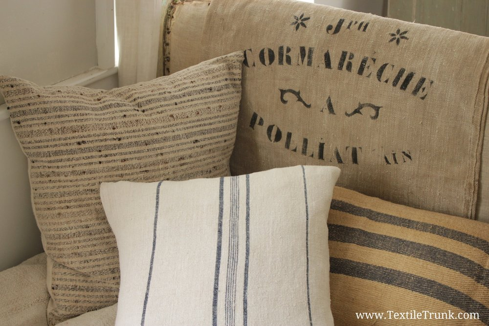 Decorative Grain Sack Fabric Pillows