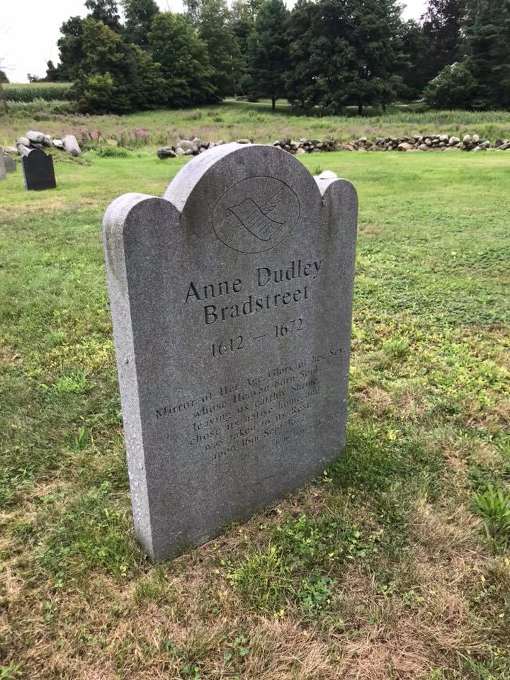 Bradstreet's modern memorial stone in Old Burying Ground in North Andover.