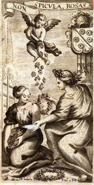 Engraving by Isabella Piccini from  Poesie Liriche Di Baldassarre Pisani  (Venice, 1676). British Library 11429.df.1.