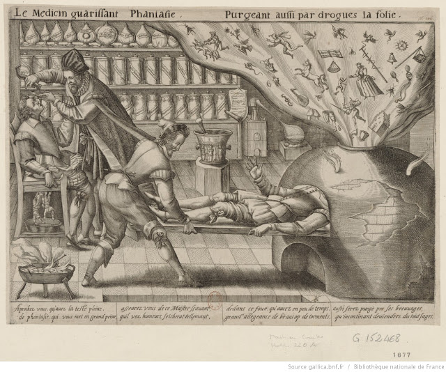 """Le Médecin guérissant Phantasie,"" Mattheus Greuter, 1620 (Bibliothèque nationale de France). The seventeenth-century equivalent of a brain scan reflects some of the medical thinking of Bradstreet's day."