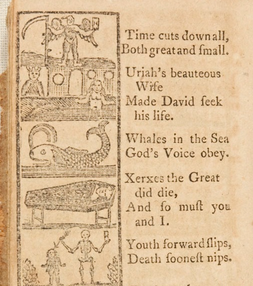 Puritan Children were taught devotional lessons about suffering and death at a young age through texts like  The New England Primer . See Indiana University's  annotation full text edition for more .