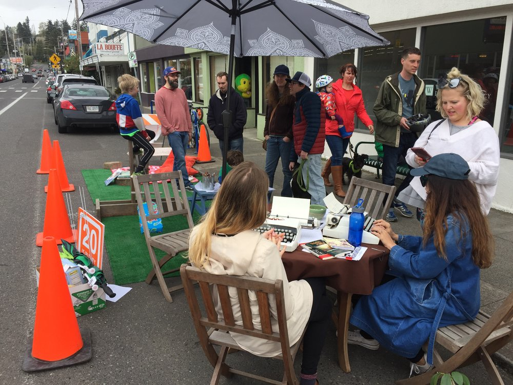 Taking over the streets at a Portland Park(ing) Day installation in April, 2018.