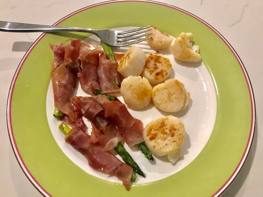 Pan-Seared Scallops with Prosciutto Wrapped Asparagus - Whole30 Approved