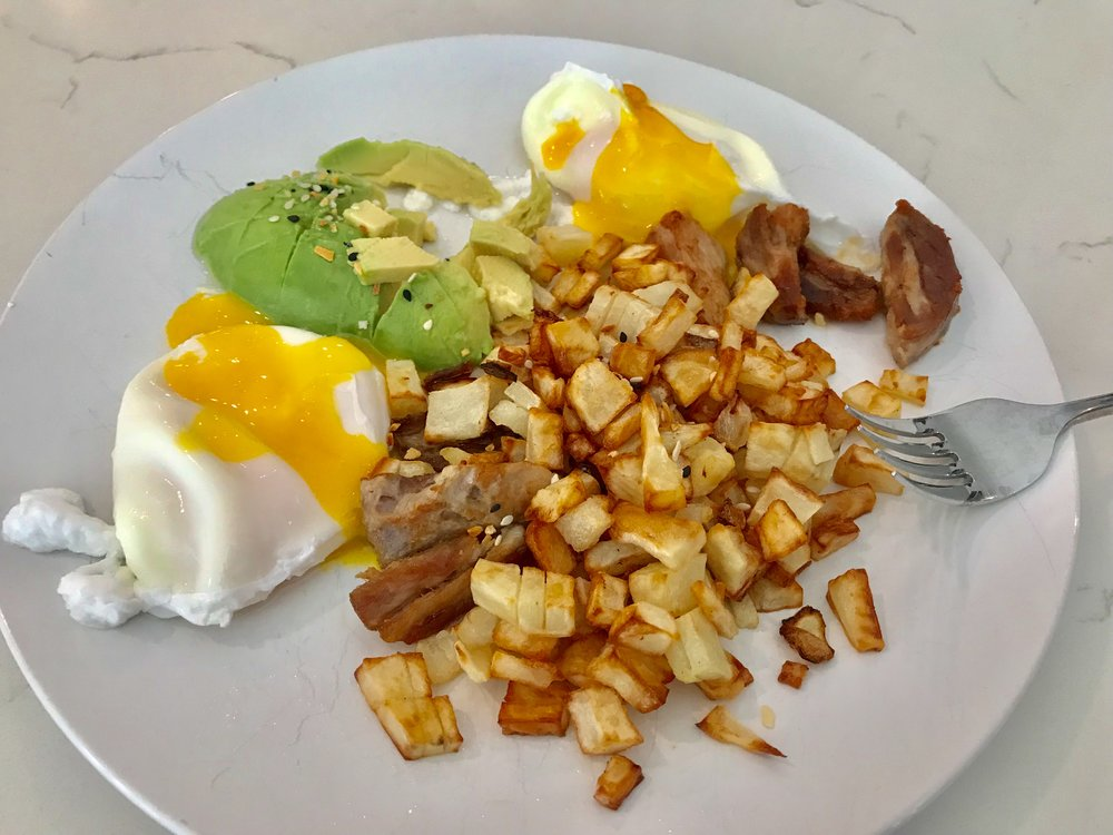 Poached Eggs with Whole30 Altered Hollandaise Sauce, Pork Belly, Potatoes and Avocado - Whole30 Approved