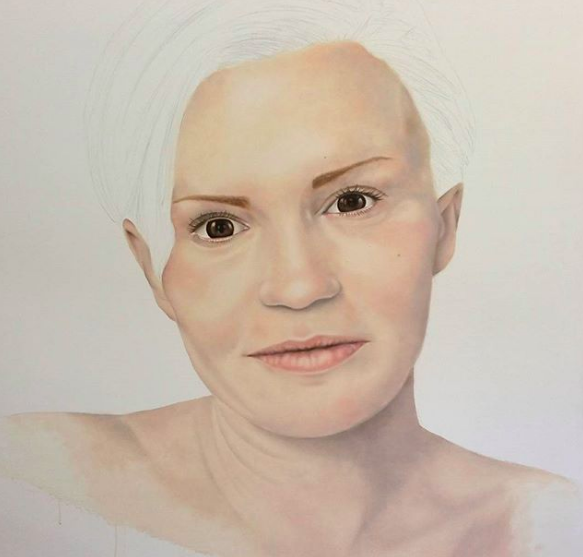 'I make sure the sun's coming in...' - Kerry Katona (Media Personality). Painting by Andrea Tyrimos.