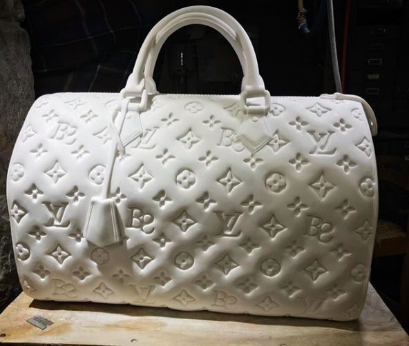 LVBS bag by Barbara Segal; the artist combines her own initials into the design of the popular bag