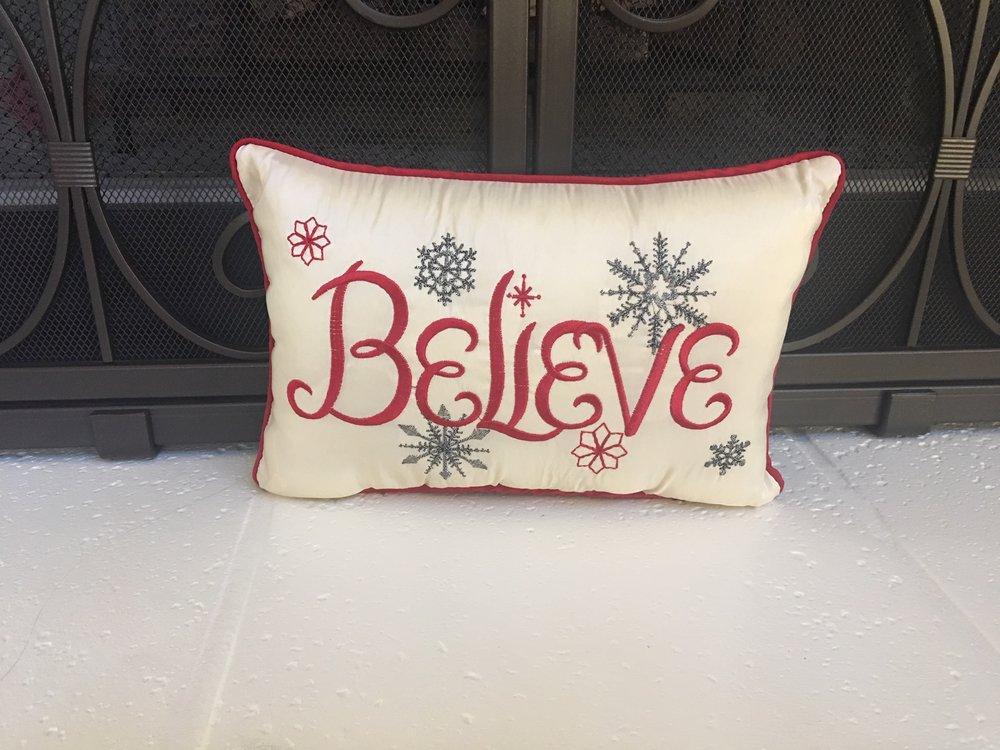 "- ""Believe"" pillow"