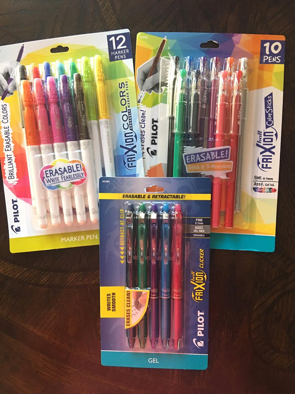 pilot erasable pens - Frixion ColorSticks