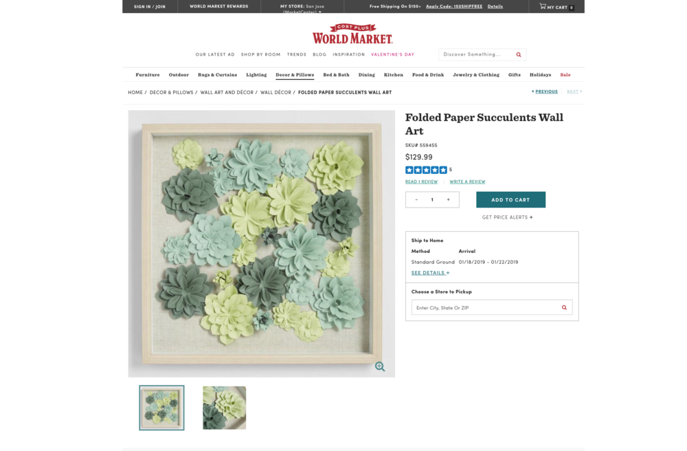 world market succulent wall art