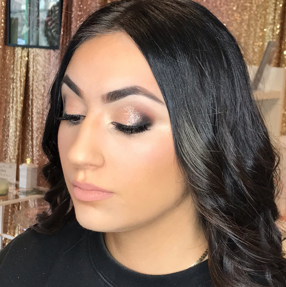 Bridal Makeup Trial - Glam Makeup for this soon to be bride. Some brides like it nice and natural while some love to go all out! We figure out what is perfect for you during your trial so your wedding day will be picture perfect!