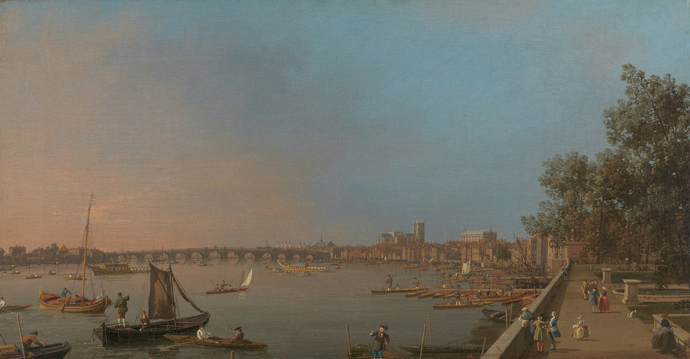 Canaletto, 1697–1768, Venetian, active in Britain (1746–55),  Westminster from Near the Terrace of Somerset House , ca. 1750, Oil on canvas, Yale Center for British Art, Paul Mellon Collection.
